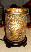 *GOLD LEAF CYLINDER SHADE-ELECTRIC