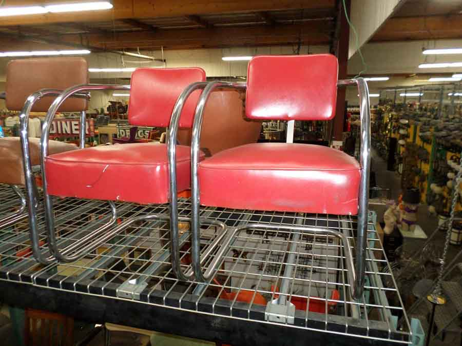 RED WAITING CHAIRS in BARBER SHOP FURNITURE