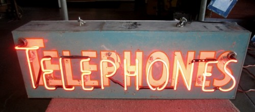 TELEPHONES NEON CAN SIGN