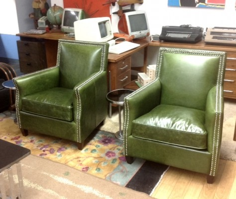 GREEN DECO CLUB CHAIRS