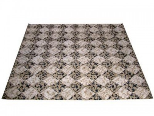 BEIGE AND BLACK DECO RUG